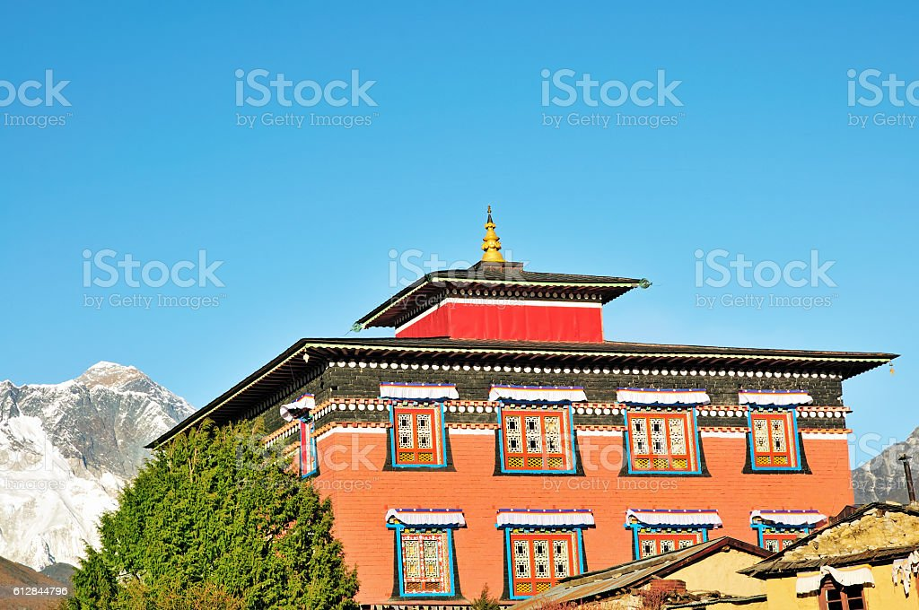 Tengoche (Thyangboche) Monastery with Mount Everest, Khumbu, Nepal stock photo