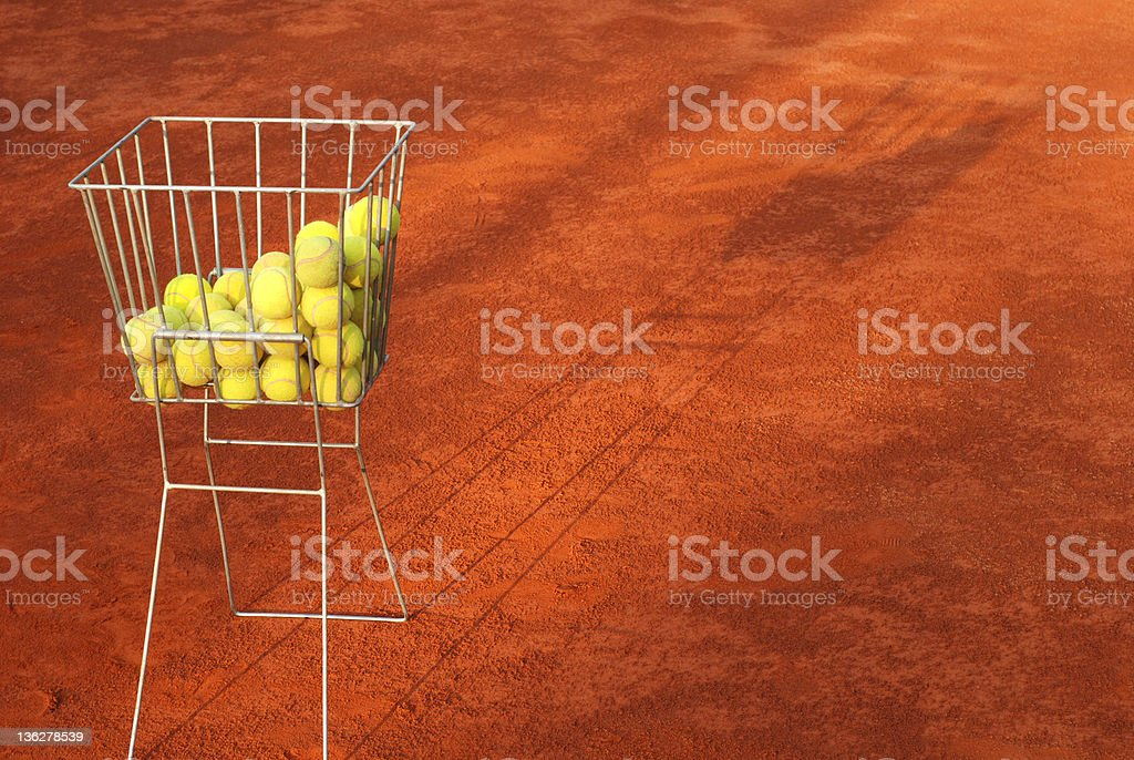 tenis balls in a basket royalty-free stock photo