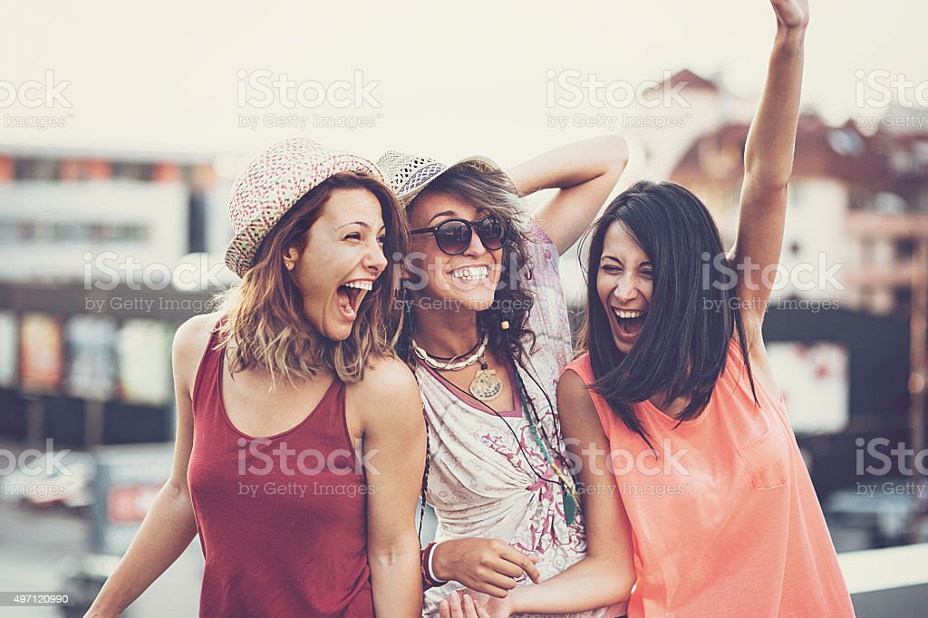 Tennage girls fun stock photo