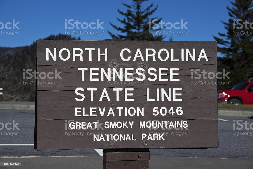 Tennessee - North Carolina state line royalty-free stock photo