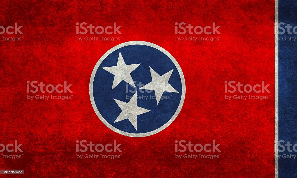 Tennessee State flag with distressed textures stock photo
