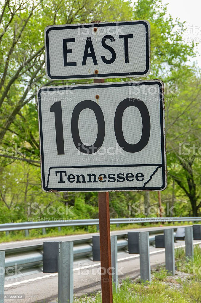 Tennessee State Route 100 sign stock photo