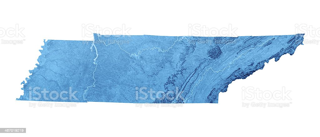 Tennessee Topographic Map Isolated stock photo