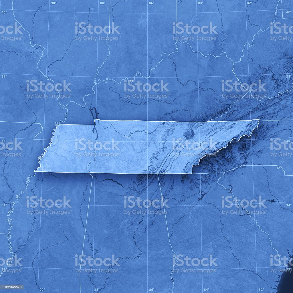 Tennessee Topographic Map stock photo