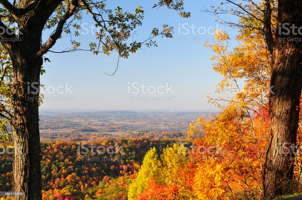 Tennessee Valley from Foothills Parkway West in Autumn royalty-free stock photo