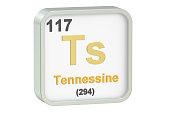 Tennessine chemical element, 3D rendering