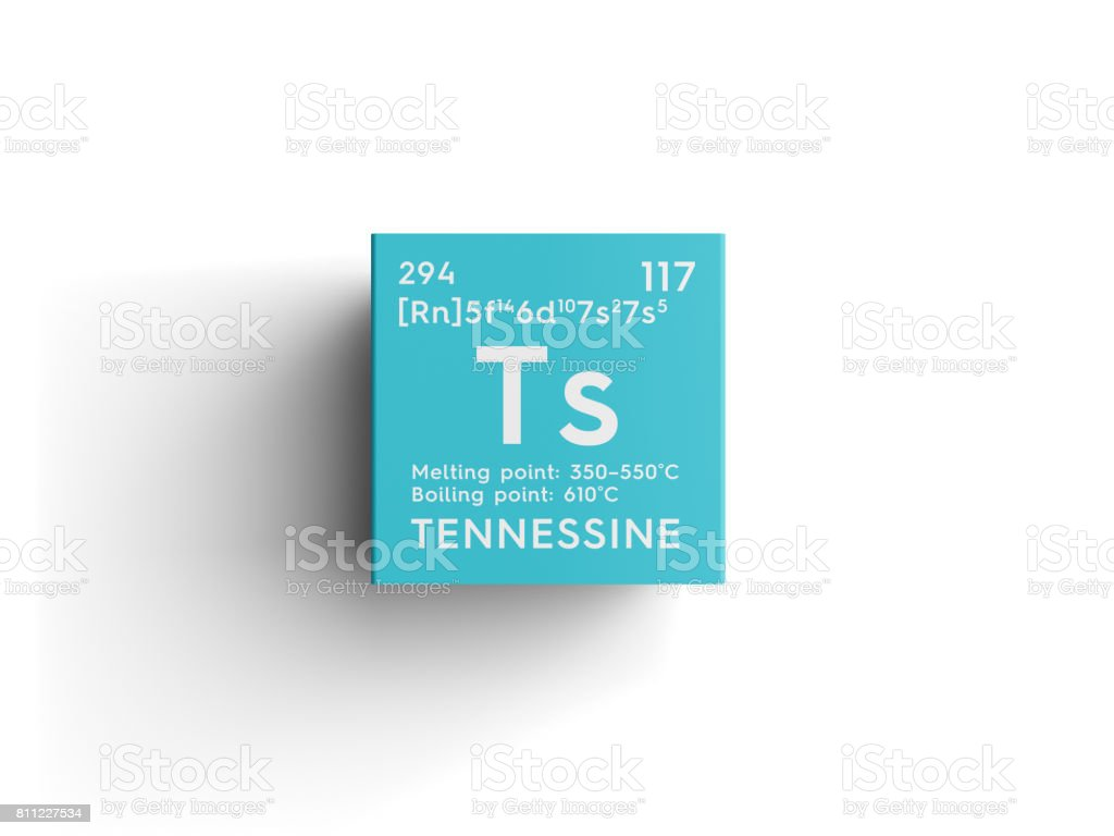 Tennessine. Halogens. Chemical Element of Mendeleev's Periodic Table. stock photo