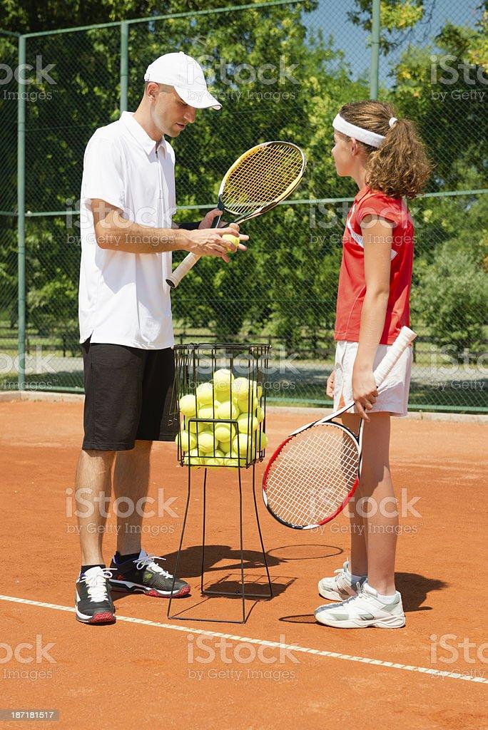 Tennis 1-on-1 training royalty-free stock photo