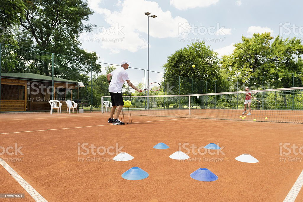 Tennis academy session stock photo