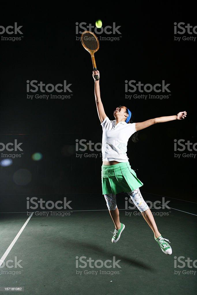 Tennis Action Shot Vertical Portrait royalty-free stock photo