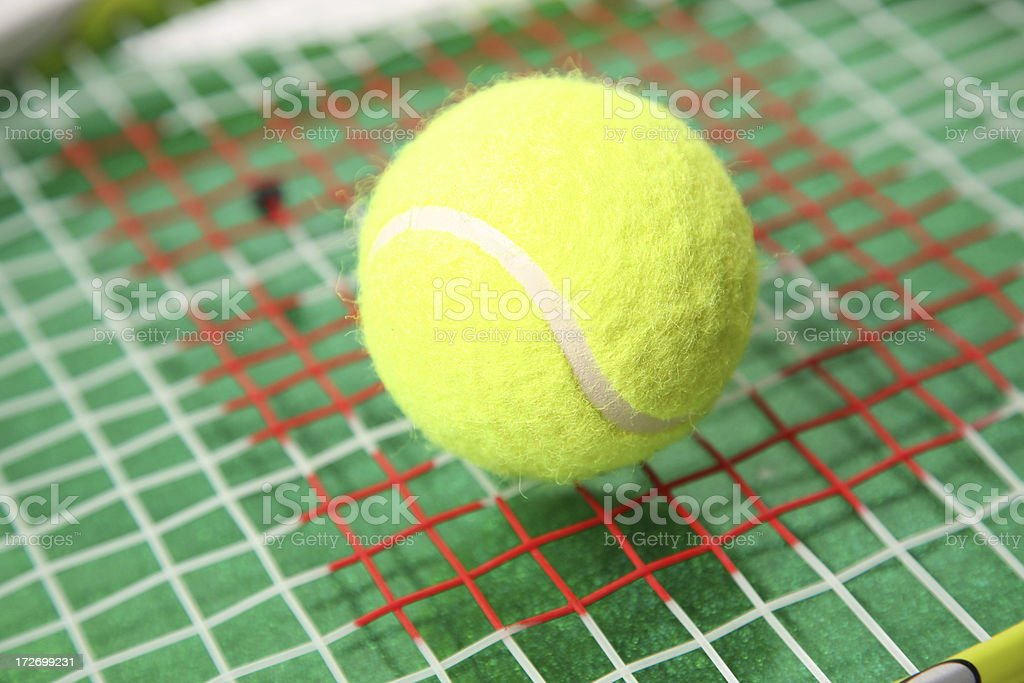 Tennis and racquet stock photo