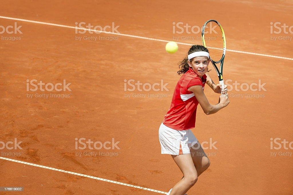 Tennis backhand stroke royalty-free stock photo
