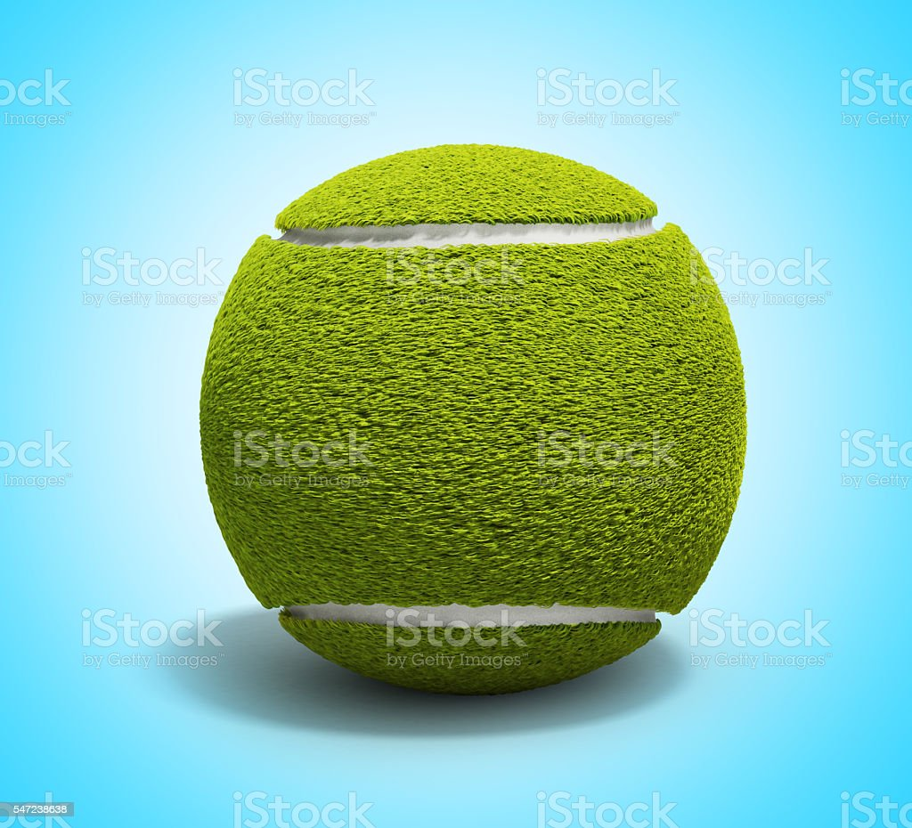 Tennis ball 3d render on gradient background without shadow stock photo