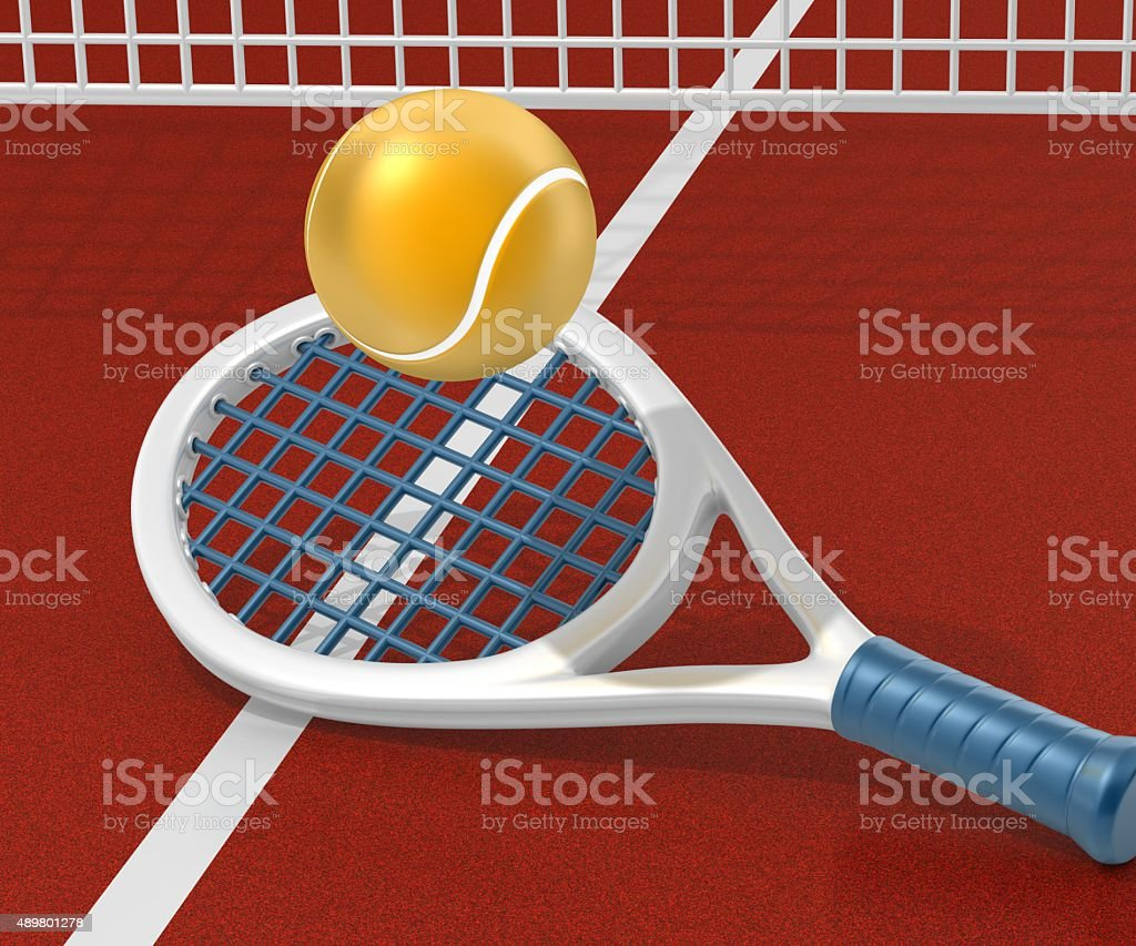 Tennis Ball and Racket on the Court stock photo