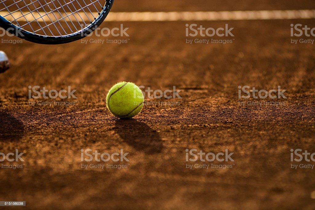 tennis ball and racket stock photo
