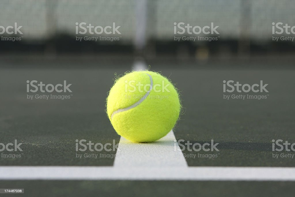 Tennis Ball at the Court Lines royalty-free stock photo
