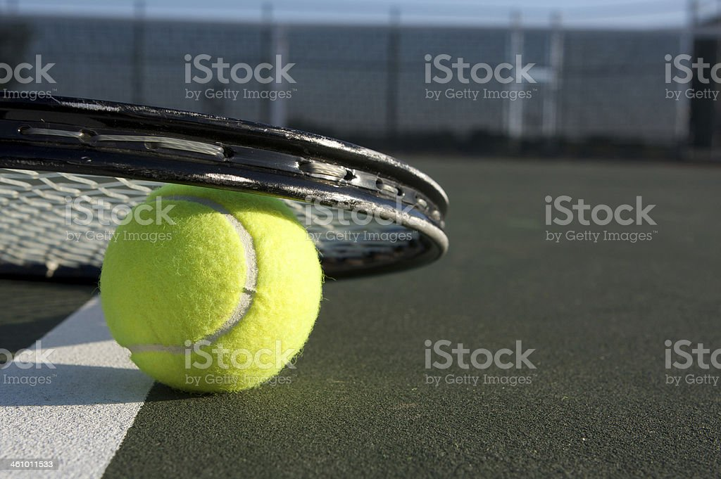 Tennis Ball Close Up and Racket royalty-free stock photo