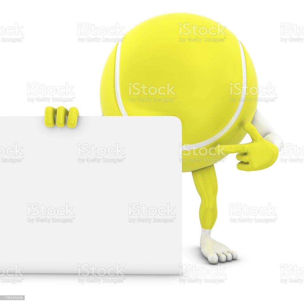 tennis ball man pointing on whiteboard royalty-free stock photo
