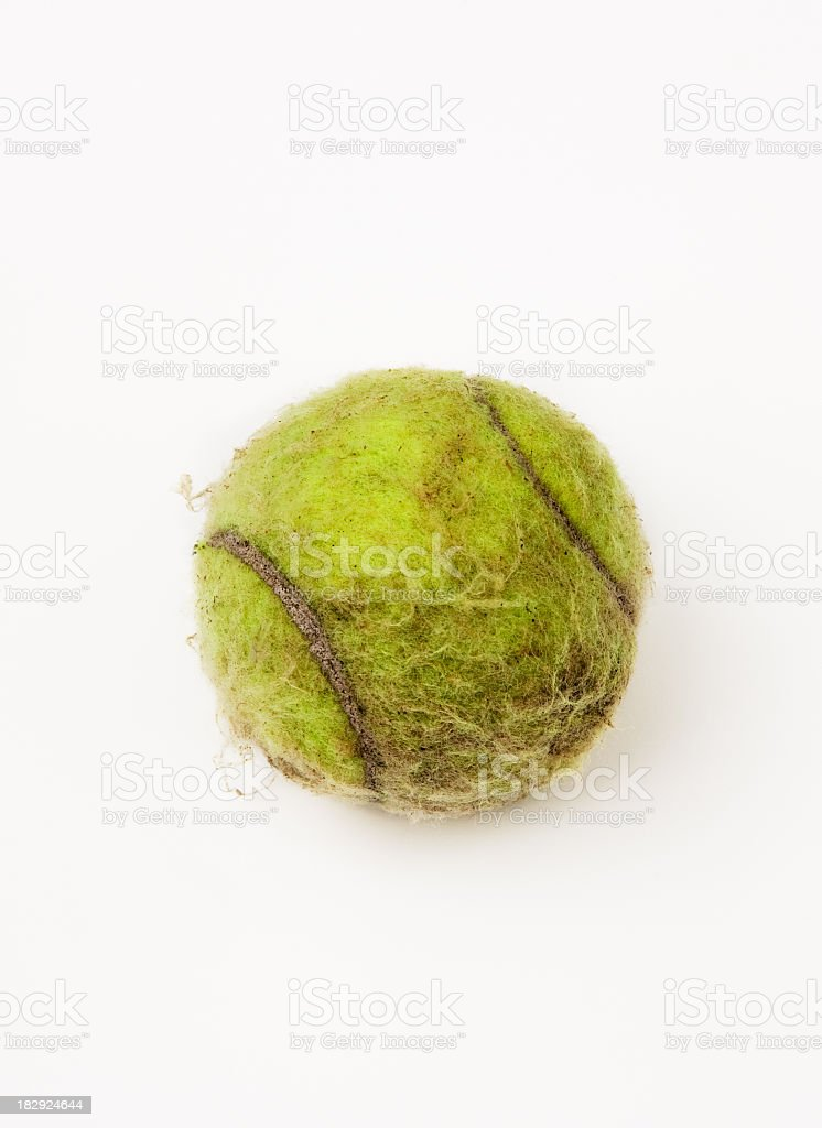 tennis ball old and dirty still life stock photo