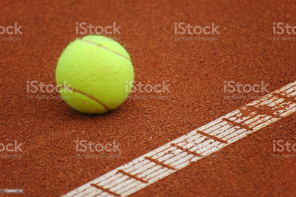 Tennis ball on court. royalty-free stock photo