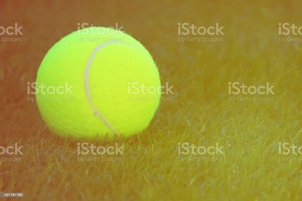 Tennis ball on grass tennis court stock photo
