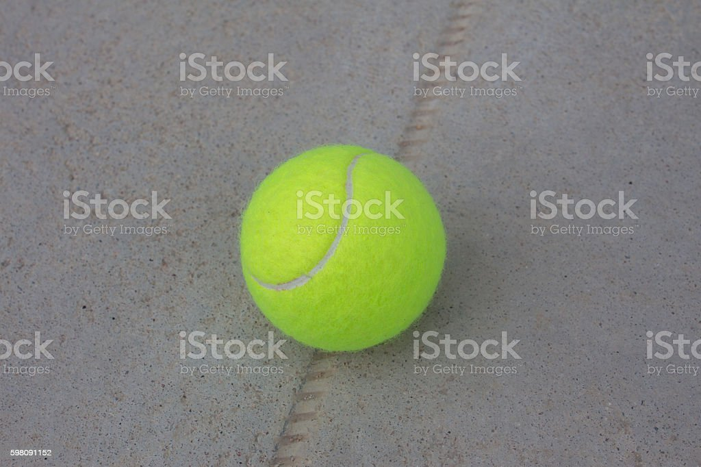 Tennis Ball on the Court Close up stock photo