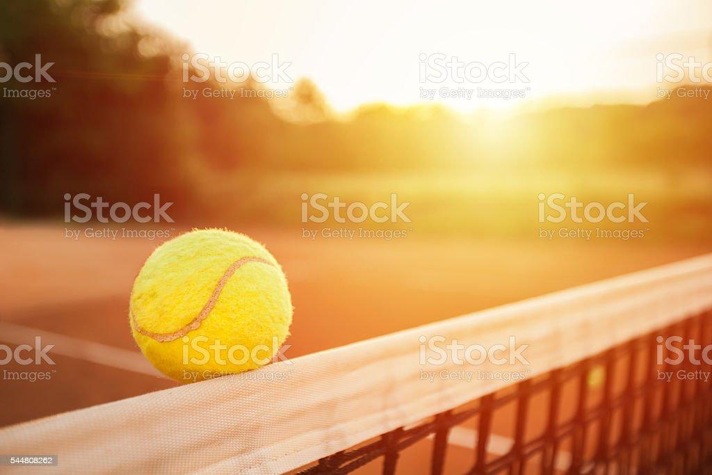 Tennis ball on the net stock photo