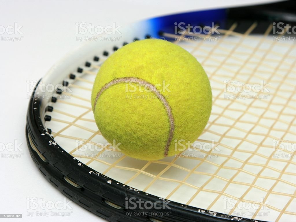 Tennis ball on the racket royalty-free stock photo