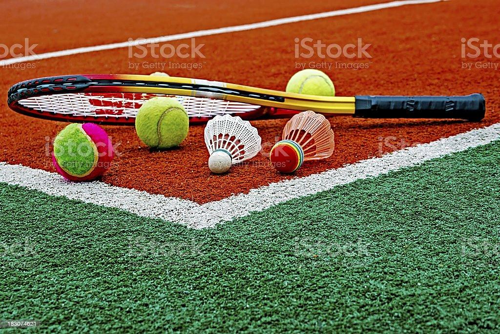 Tennis balls, Badminton shuttlecocks & Racket royalty-free stock photo