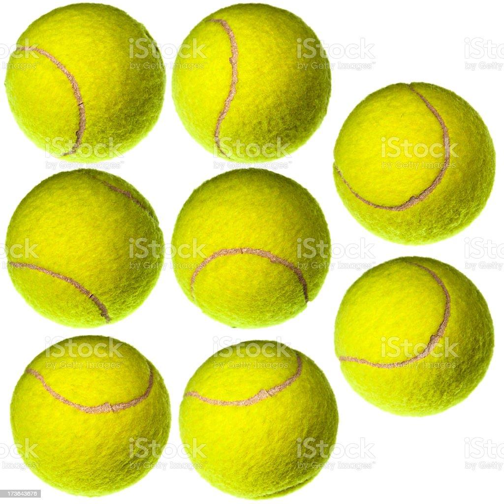 8 Tennis Balls isolated on white royalty-free stock photo