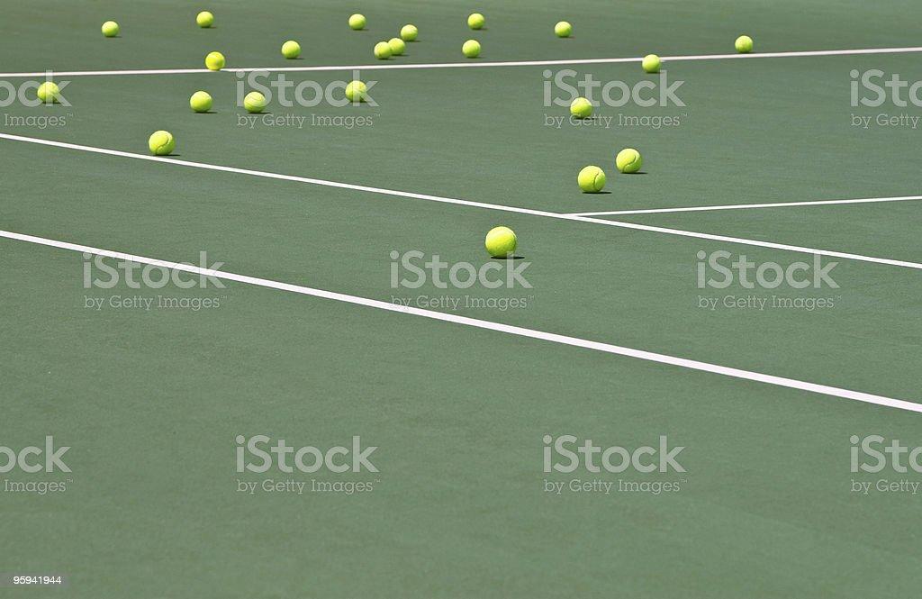 Tennis Balls on Court stock photo