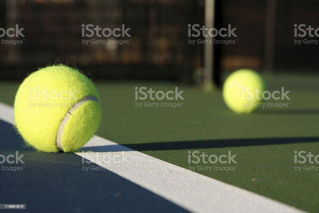 Tennis Balls on the Court royalty-free stock photo
