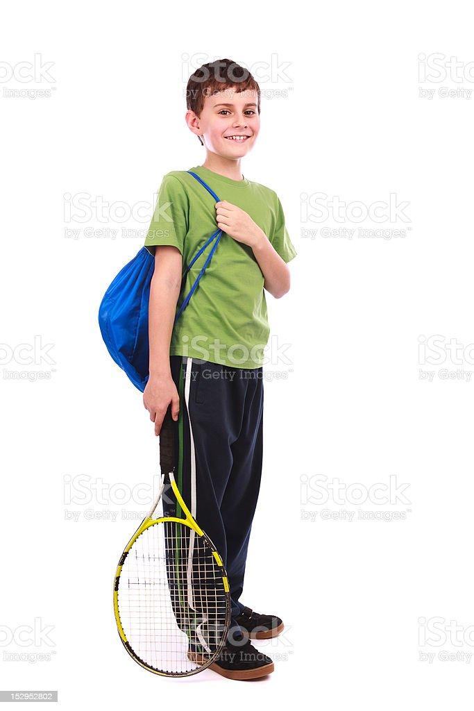 Tennis boy isolated on white royalty-free stock photo