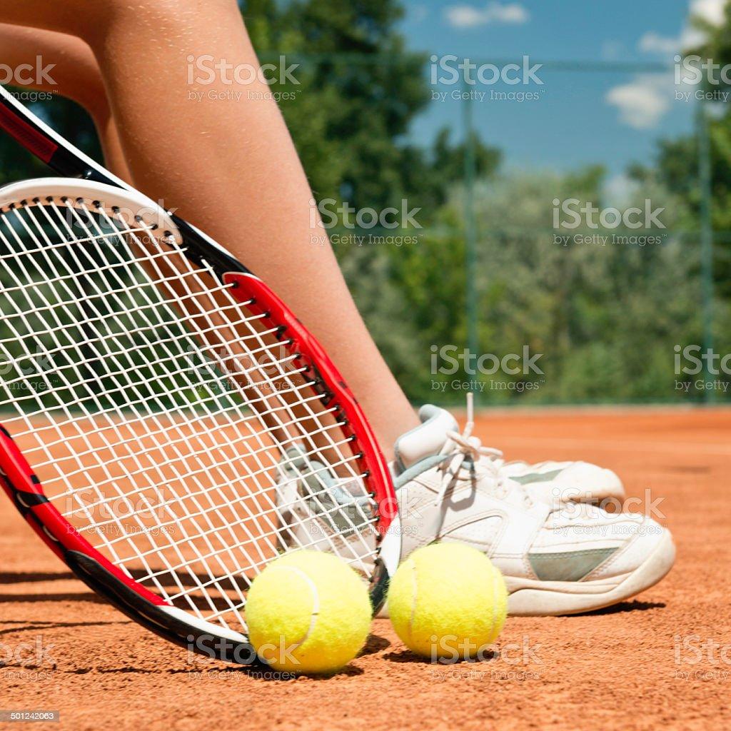 Tennis break royalty-free stock photo