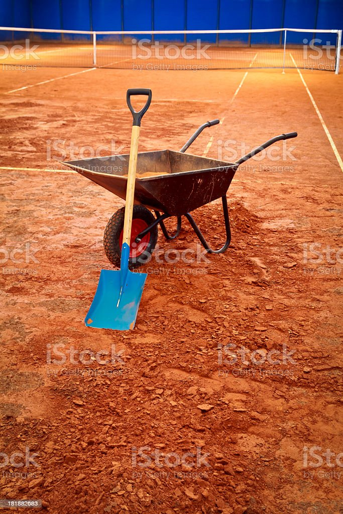 Tennis clay court in the renovation royalty-free stock photo