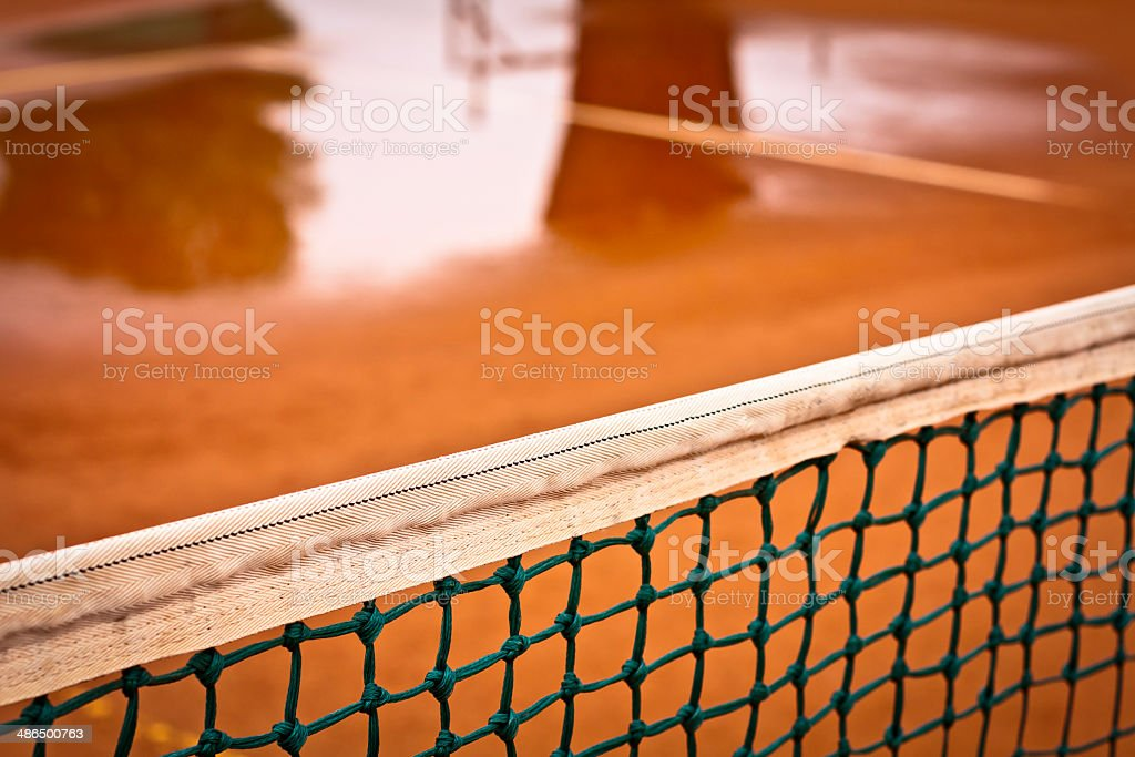 Tennis Court after rain royalty-free stock photo