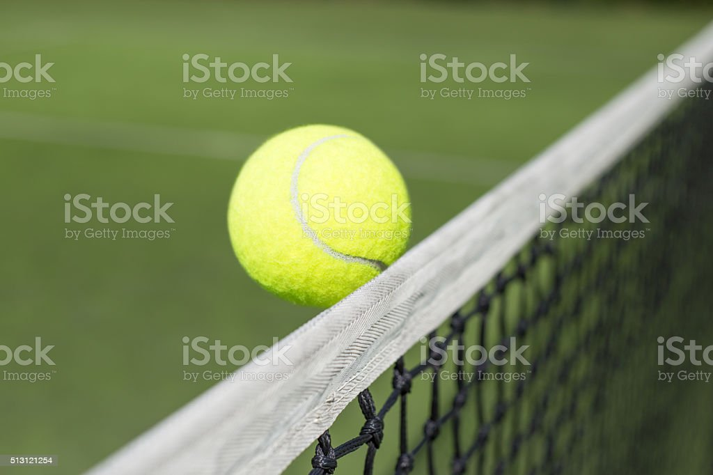 Tennis court and tennis ball stock photo