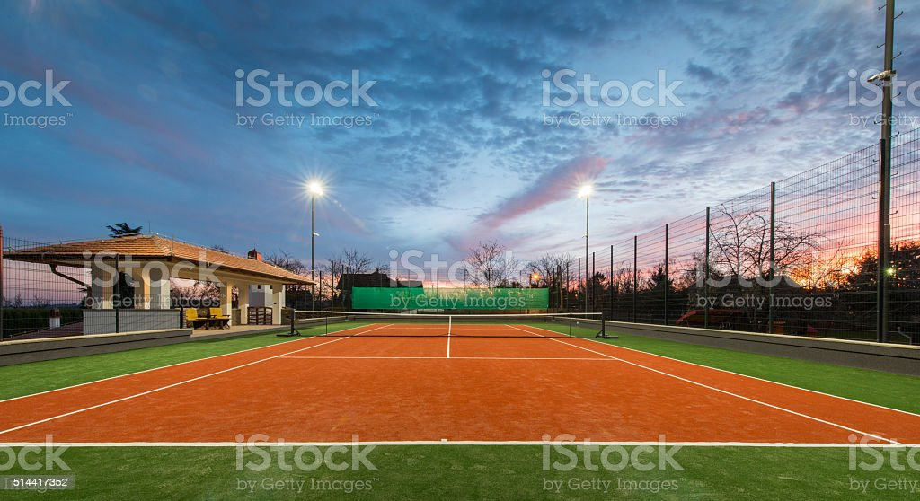 Tennis court at a private estate stock photo