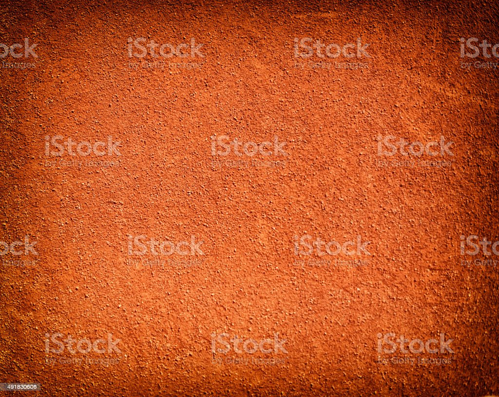 Tennis court background with red clay sand stock photo