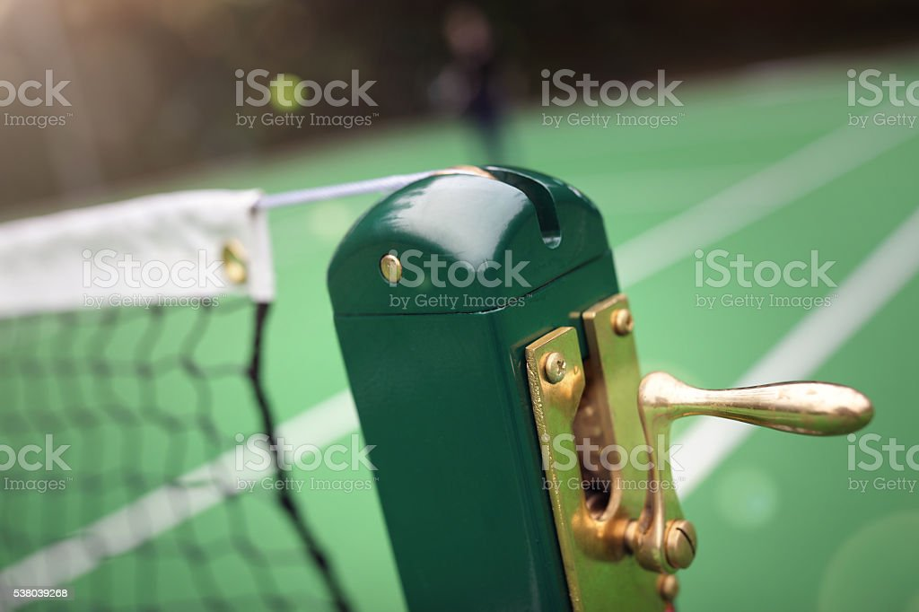 Tennis court, ball and net stock photo