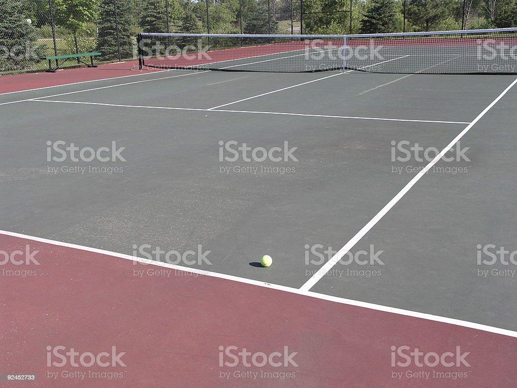 Tennis court - ball on court royalty-free stock photo