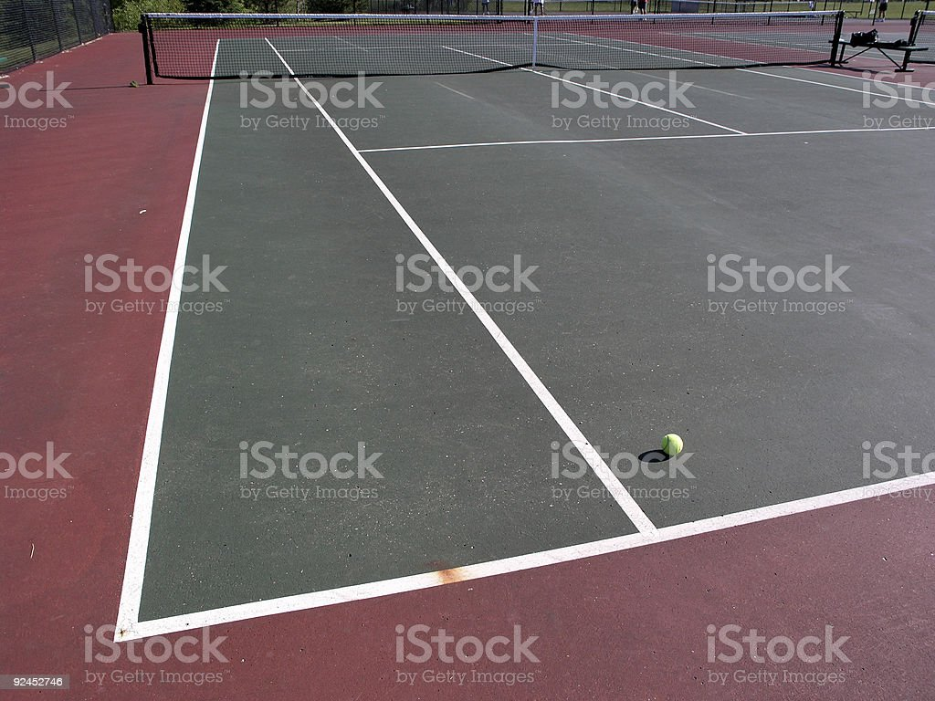 Tennis court - ball on court royalty-free stock photo