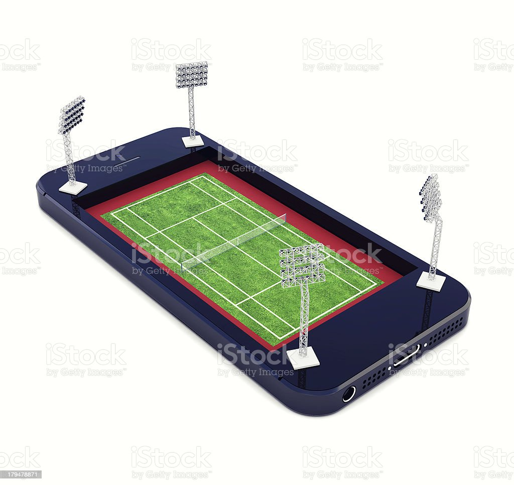 tennis court in mobile phone with the lights royalty-free stock photo