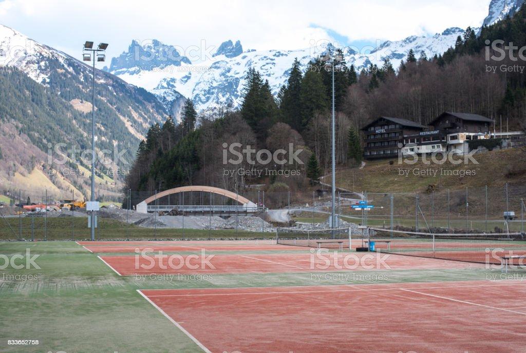 Tennis court in mountains stock photo