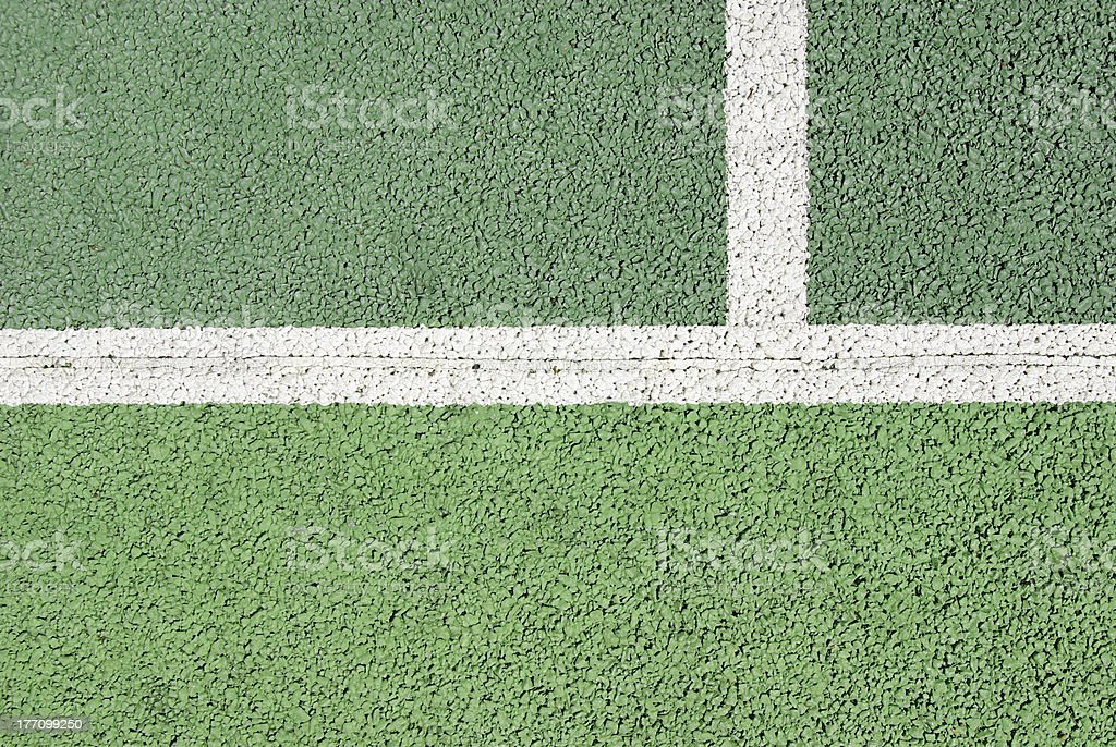 Tennis court line detail stock photo