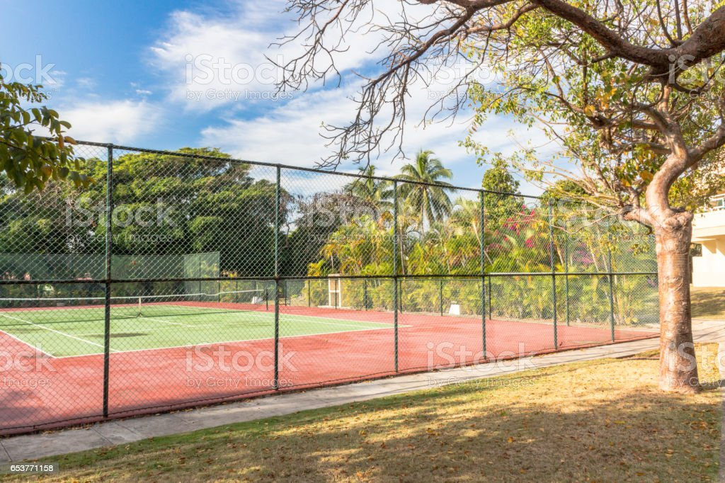 Tennis court  of a resort in Varadero, Cuba stock photo