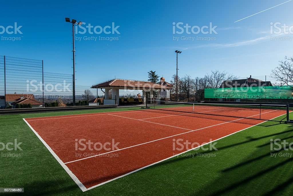 Tennis court on a private property stock photo