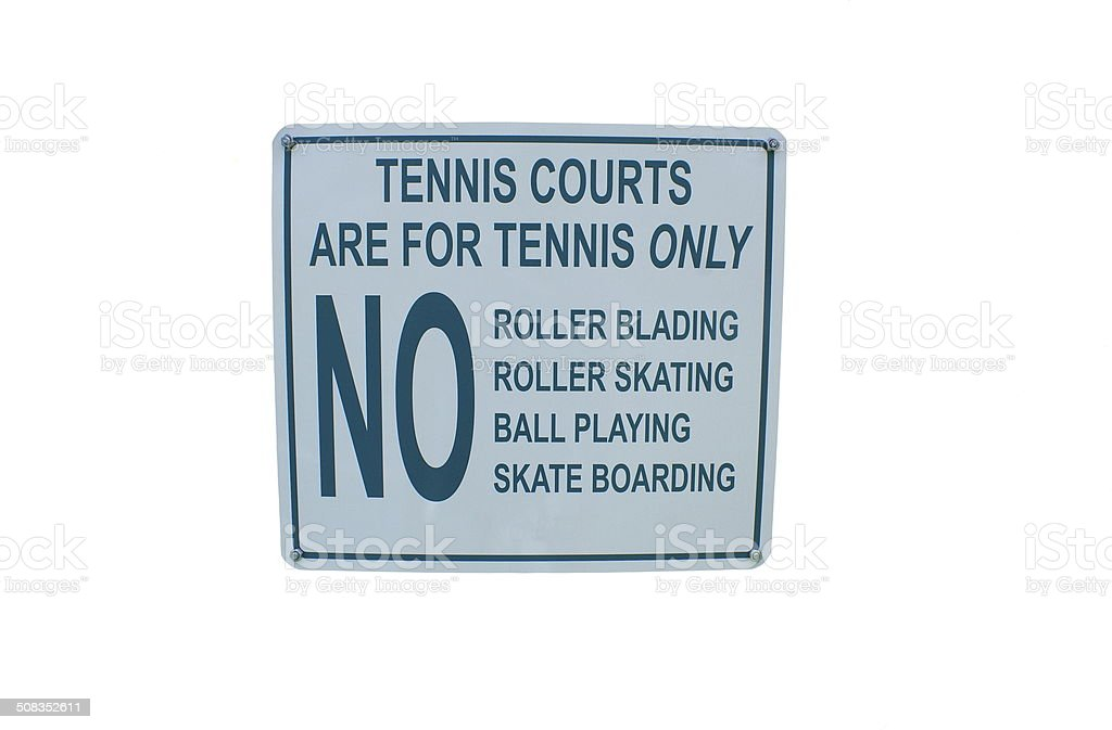 Tennis court sign stock photo