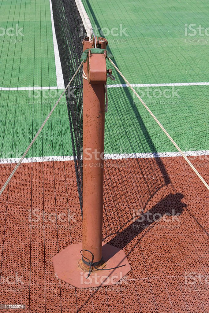 Tennis court with a net stock photo