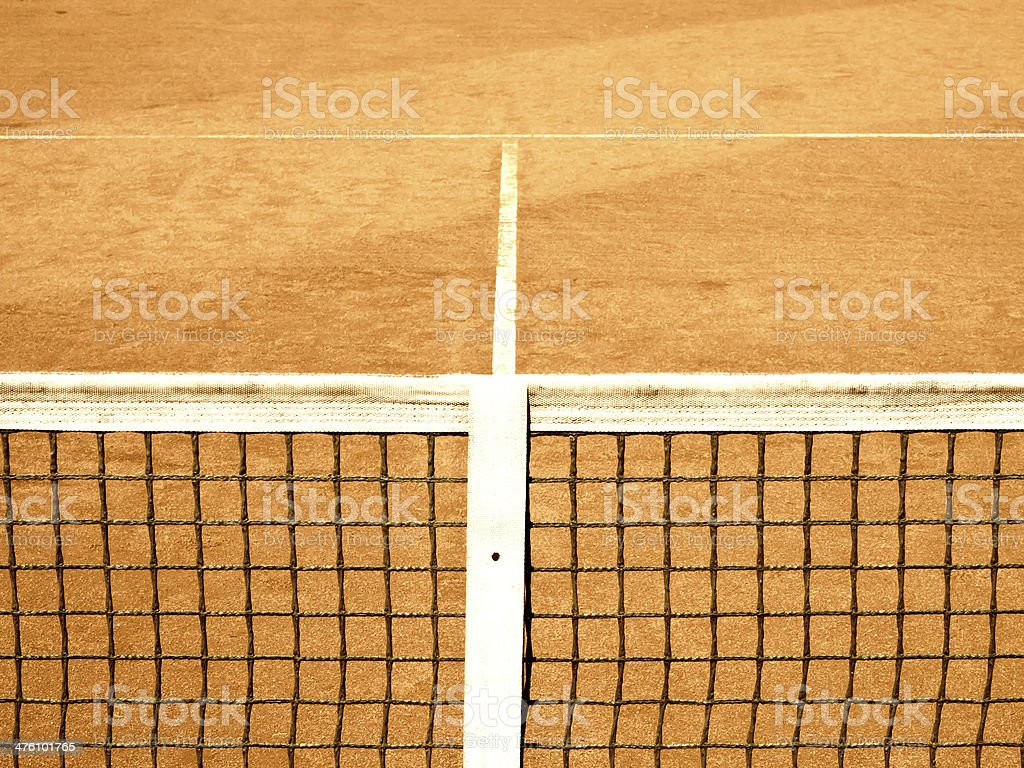 tennis court with line and net stock photo